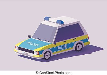 polícia, carro alemão, poly, vetorial, baixo