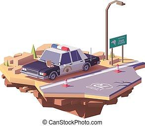 polícia, carro clássico, poly, americano, vetorial, baixo