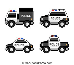 polícia, carro clássico, set., vetorial, pretas, colors., branca