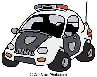 polícia, carro engraçado