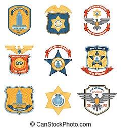 polícia, colorido, emblemas