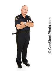polícia, corporal, cheio, oficial