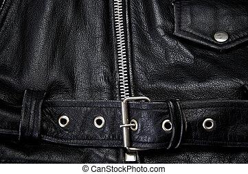 polícia, couro, detalhe, casaco, pretas, motocicleta