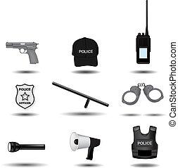 polícia, e, execução lei, vetorial