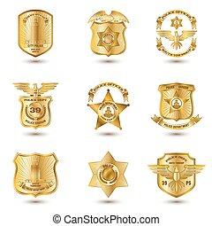 polícia, emblemas, ouro