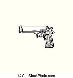 polícia, esboço, doodle, arma, mão, desenhado, icon.