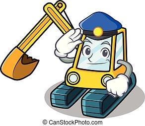 polícia, estilo, personagem, caricatura, escavador