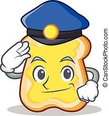 polícia, fatia, personagem, caricatura, pão