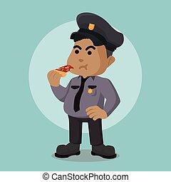 polícia, gorda, oficial, africano, comendo pizza