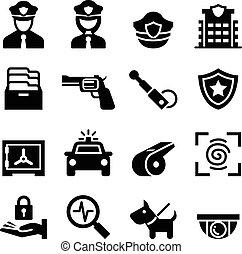 polícia, &, guarda de segurança, ícone