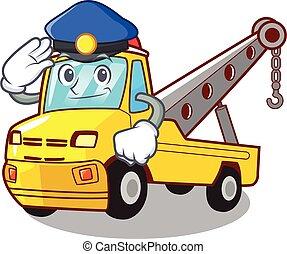 polícia, isolado, corda reboque, caminhão, caricatura