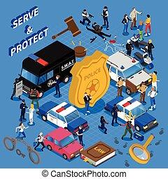 polícia, isometric, ilustração