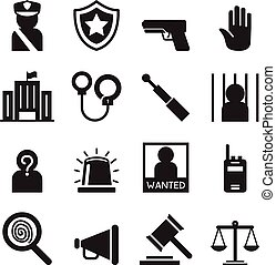 polícia, jogo, silueta, ícones