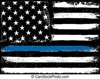 polícia, magra, pretas, linha., bandeira, azul