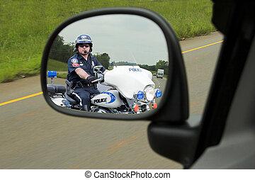 polícia, motocicleta, policial, closeup