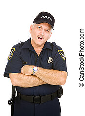 polícia, -, oficial, espantado