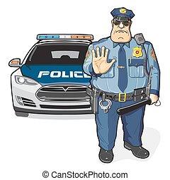 polícia, patrulha, xerife