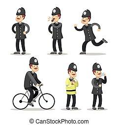 polícia, policial, cartoon., ilustração, officer., vetorial...