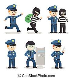 polícia, projeto fixo, oficial, ilustração