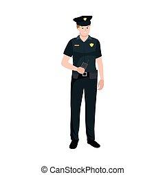 polícia, protect., saque, ilustração, vetorial, macho, ...