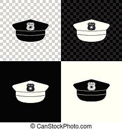 polícia, sinal., boné, isolado, ilustração, experiência., vetorial, pretas, branca, ícone, chapéu, transparente, cockade