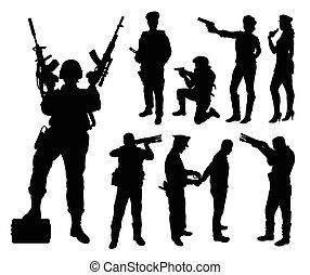 polícia, soldado, militar, silhouett