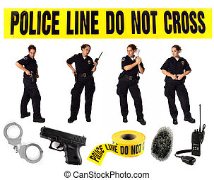 polícia, uniformed, poses, múltiplo, oficial