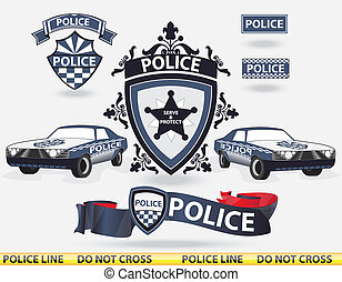 polícia, vetorial, -, elementos