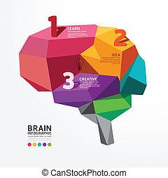 polígono, cérebro, conceitual, vetorial, estilo, infographic...