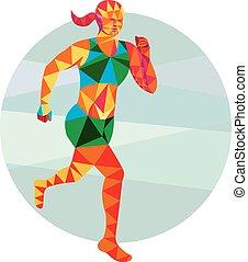 polígono, triathlete, corredor, bajo, hembra, maratón