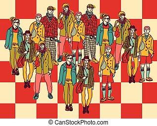 política, chessboard, grupo, pessoas colorem