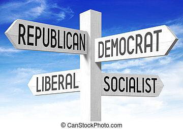 política, conceito, -, madeira, signpost