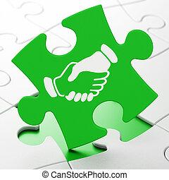 política, concept:, apretón de manos, en, rompecabezas, plano de fondo