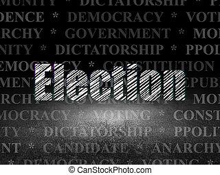 política, concept:, elección, en, grunge, cuarto oscuro