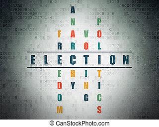 política, concept:, eleição, em, palavras cruzadas
