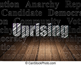 política, concept:, levantamiento, en, grunge, cuarto oscuro