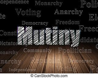 política, concept:, motín, en, grunge, cuarto oscuro