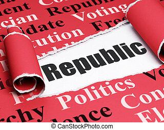 política, concept:, negro, texto, república, debajo, el, pedazo, de, papel roto