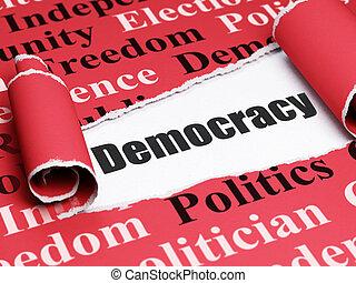 política, concept:, pretas, texto, democracia, sob, a, pedaço, de, papel rasgado