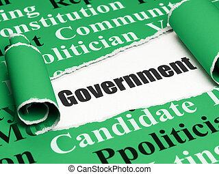 política, concept:, pretas, texto, governo, sob, a, pedaço, de, papel rasgado