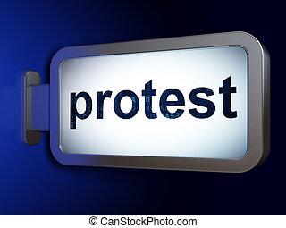 política, concept:, protesta, en, cartelera, plano de fondo