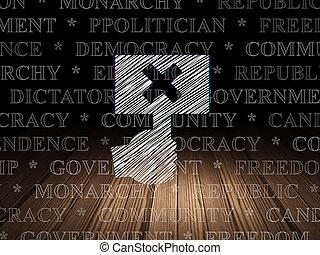 política, concept:, protesta, en, grunge, cuarto oscuro