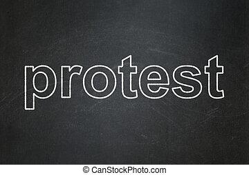 política, concept:, protesta, en, pizarra, plano de fondo