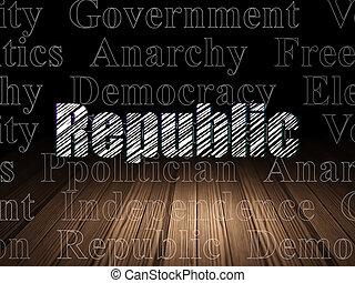 política, concept:, república, en, grunge, cuarto oscuro