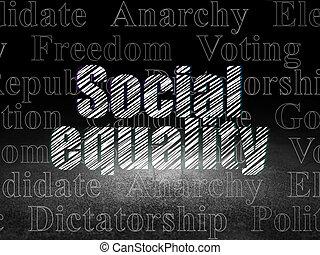 política, concept:, social, igualdad, en, grunge, cuarto oscuro