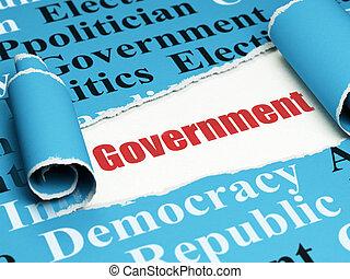 política, concept:, vermelho, texto, governo, sob, a, pedaço, de, papel rasgado