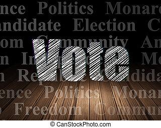 política, concept:, voto, en, grunge, cuarto oscuro