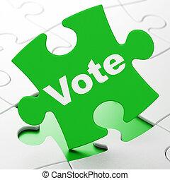 política, concept:, voto, ligado, quebra-cabeça, fundo