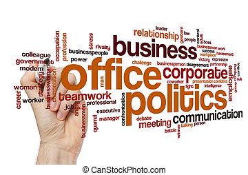 política, concepto, palabra, oficina, nube