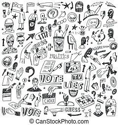 política, conjunto, -, doodles